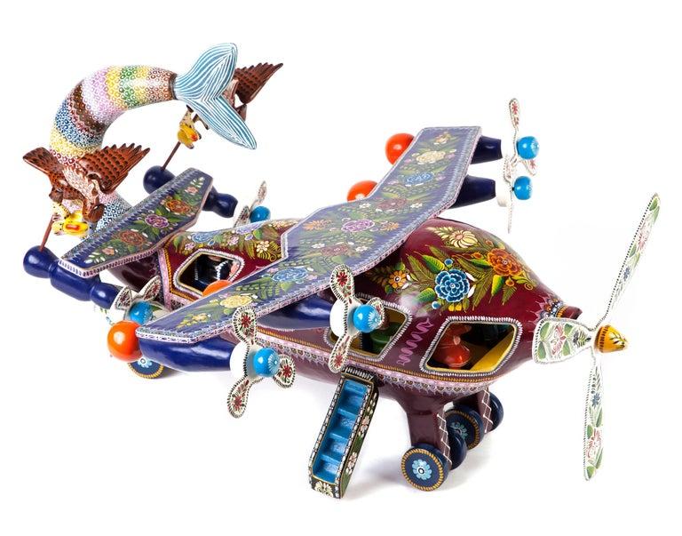 Francisco Martinez Espinoza Abstract Sculpture - 24'' El Avion de Guerrero / Wood carving Lacquer Mexican Folk Art