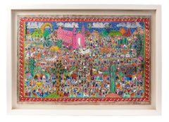 Nacimiento en Xalitla / Amate Paper Mexican Folk Art Painting Frame Nativity