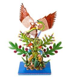 Escudo Nacional / Wood carving Lacquer Sculpture Mexican Folk Art