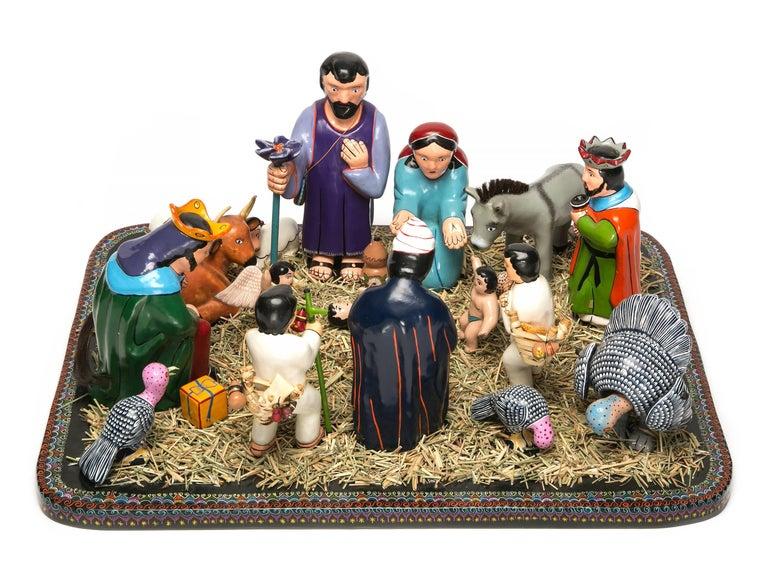 Juan Zeferino Rivera Abstract Sculpture - Nacimiento de Guerrero / Wood carving Lacquer Sculpture Mexican Folk Art Nat