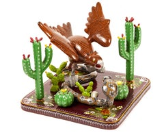 12'' Aguila Real / Wood carving Lacquer Sculpture Mexican Folk Art