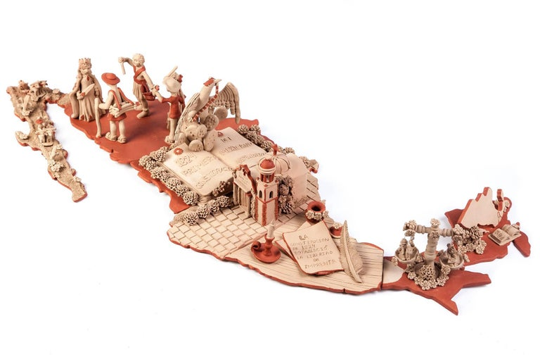 Mapa de Mexico en 1824 / Ceramics Mexican Folk Art Clay