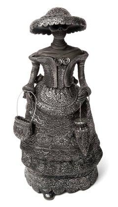 5'' Mujer Catrina-Oaxaca / Ceramics Black Clay Mexican Folk Art