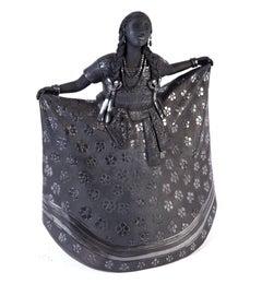 9'' Mujer Huajuapan-Oaxaca / Ceramics Black Clay Mexican Folk Art