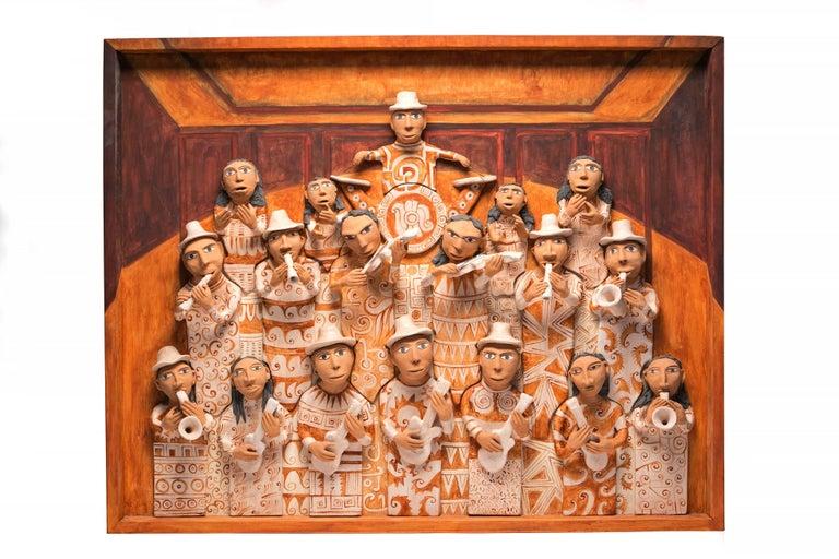 39'' La Banda de Yanhuitlan / Ceramics Mexican Folk Art Clay Frame