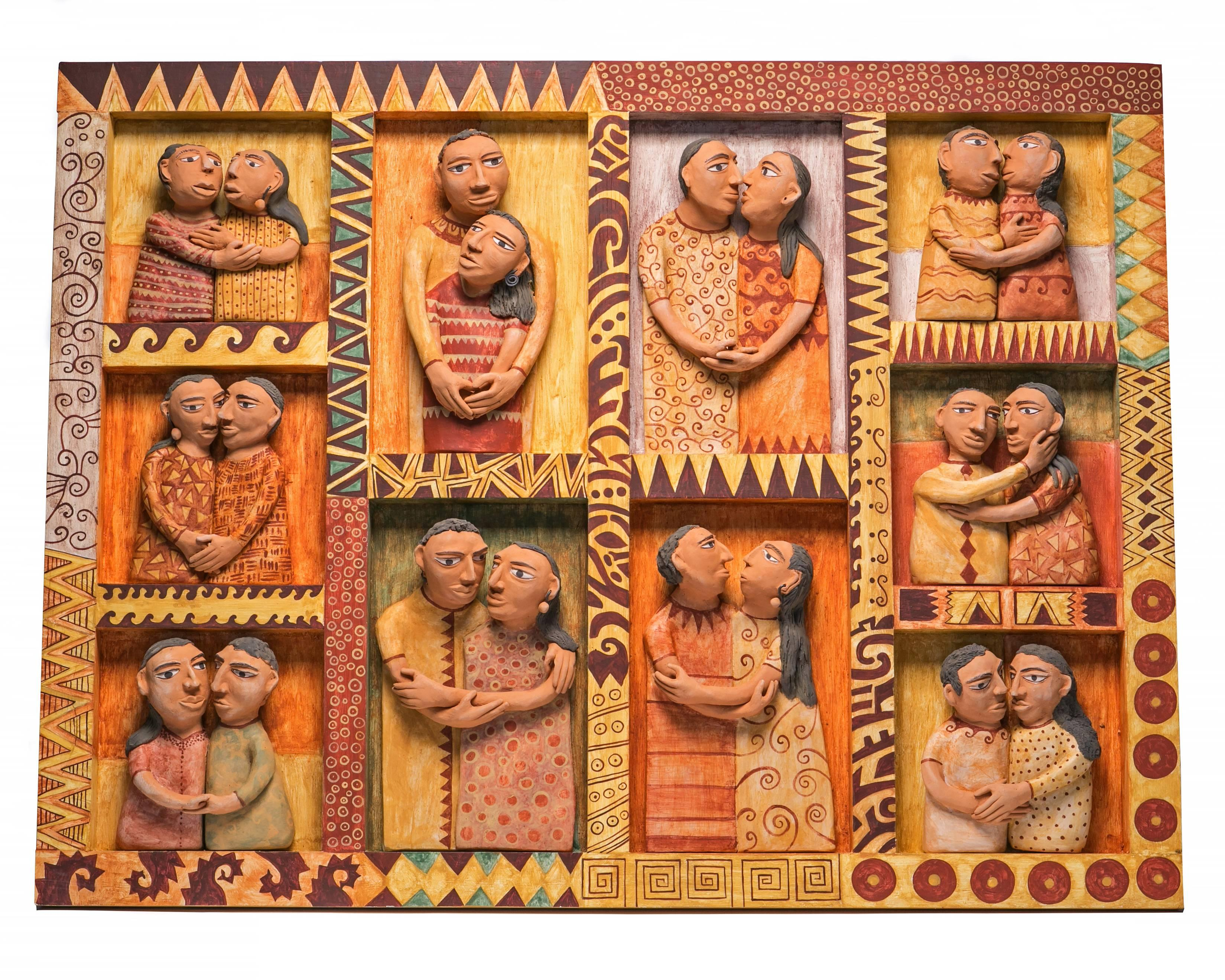 41'' El beso / Ceramics Mexican Folk Art Clay Frame