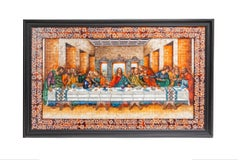 53'' La Ultima Cena Colonial / Mexican Folk Art Inlay Nacre Frame