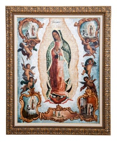 39'' Virgen de Guadalupe Colonial en Concha / Mexican Folk Art Inlay Nacre Frame