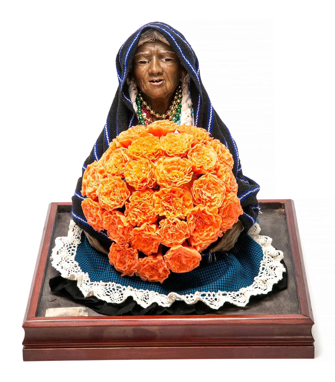 13'' Vendedora de Xempatzuchil / Wax Sculpture Mexican Folk Art