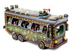 23'' El Autobus / Wood carving Lacquer Mexican Folk Art