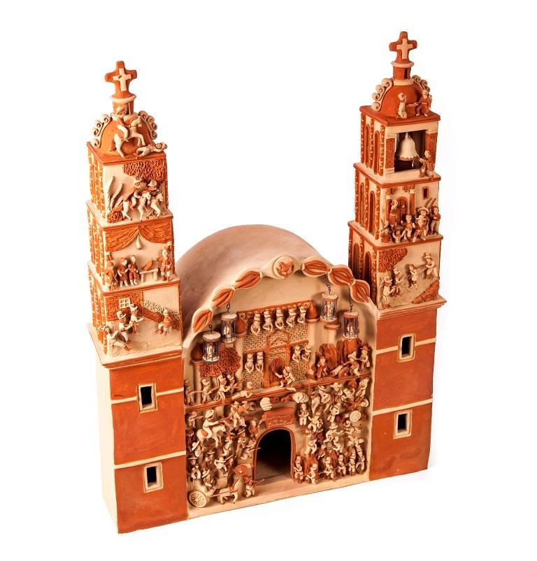 Miguel Vazquez Gutierrez Figurative Sculpture - 17'' Iglesia Independencia de Mexico / Ceramics Mexican Folk Art Clay