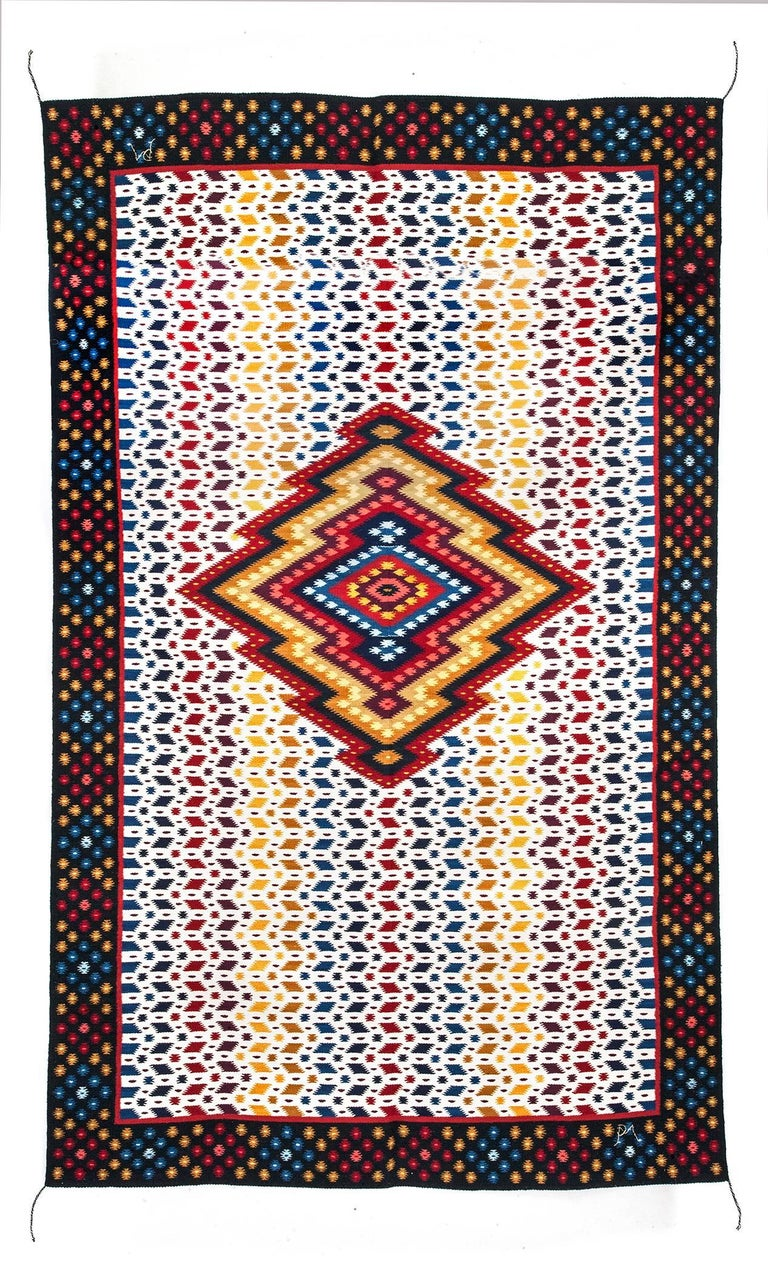 """FREE SHIPPING TO WORLDWIDE!  Artisan: Pedro Mendoza Gutierrez  MASTERPIECE  Rug made in treadle loom with Wool threads dyeing with natural tints: huizache, cochineal, indigo, pericon and moss rock.  - Dimensions: 81"""" x 47"""" in or 205 x 120 cm -"""