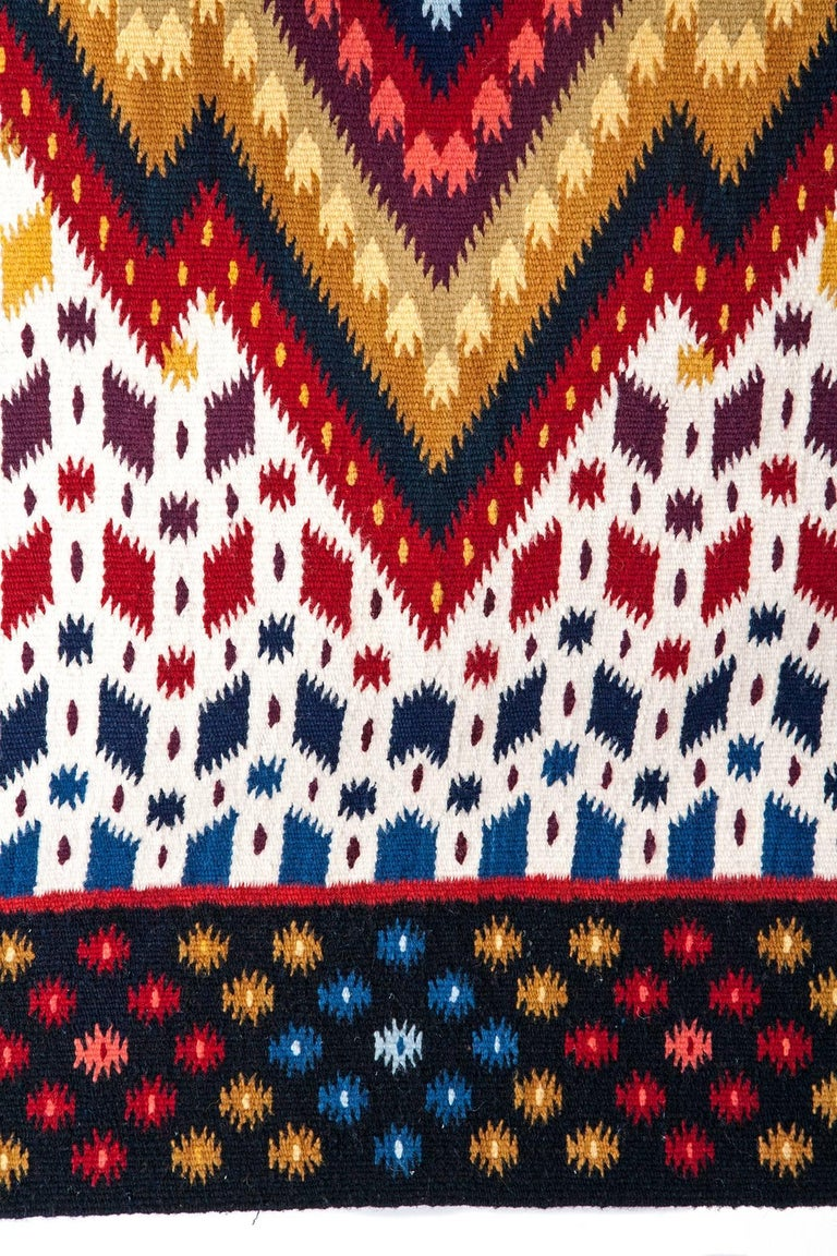 Diamante / Textiles Mexican Folk Art Rug For Sale 3