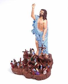 """18"""" Cristo Resucitado y Via Crucis / Wood carving Mexican Folk Art Sculpture"""