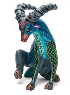 """10"""" Espiritu de Jade Goat / Wood carving Alebrije Mexican Folk Art Sculpture"""