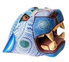 Mascara Jaguar Balam Jade / Wood carving Alebrije Mexican Folk Art Sculpture