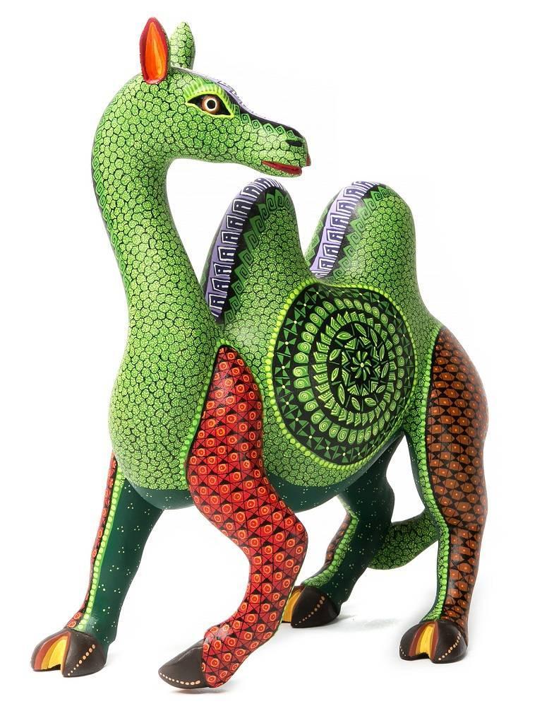 """9"""" Alegria del Desierto Camel / Wood carving Alebrije Mexican Folk Art Sculpture"""