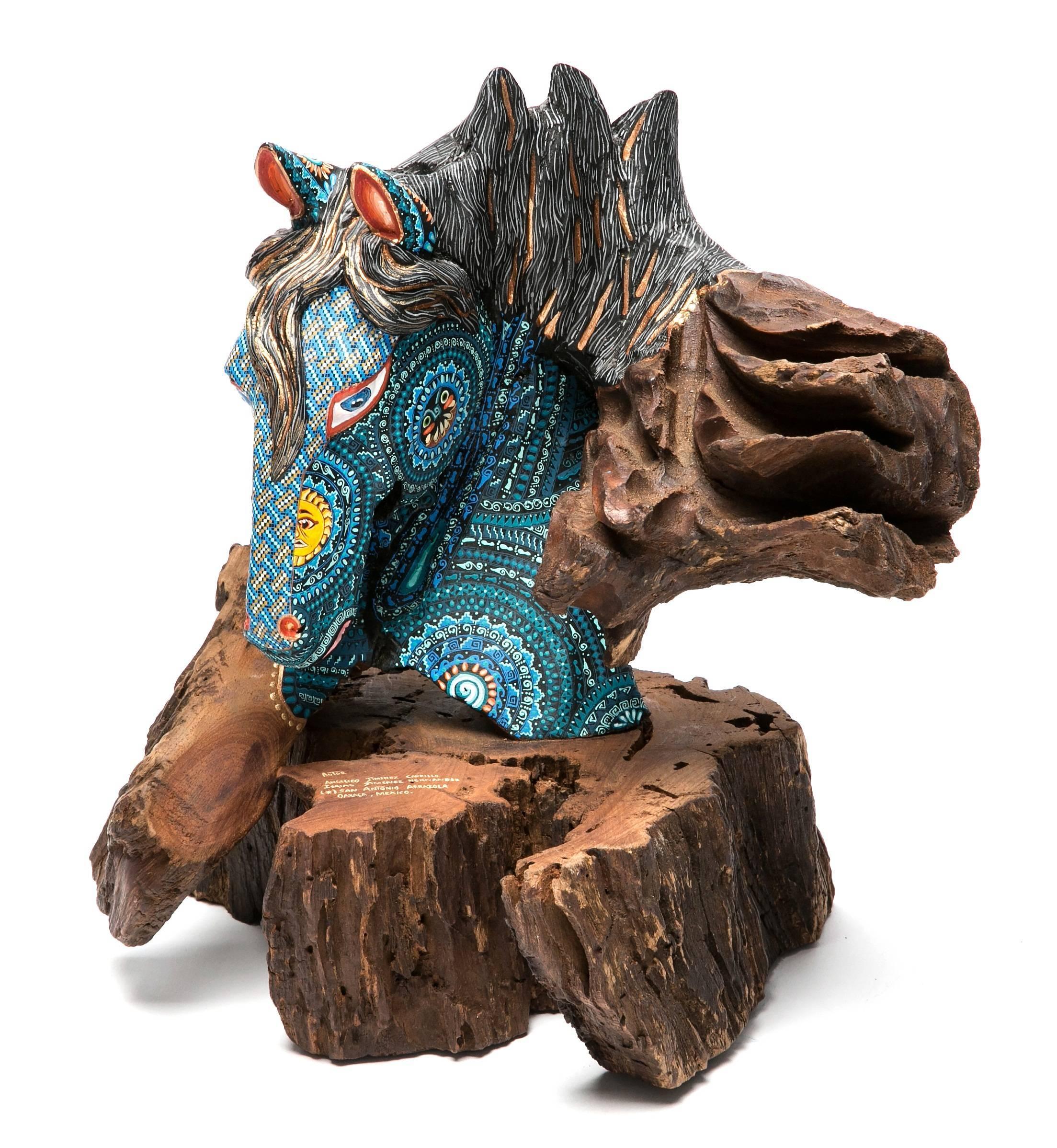 """12"""" El Dia y la Noche / Wood carving Alebrije Mexican Folk Art Sculpture"""