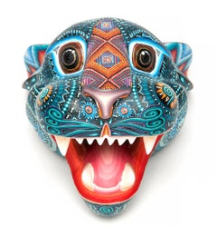 "5"" Mascara Jaguar / Wood carving Alebrije Mexican Folk Art Sculpture"