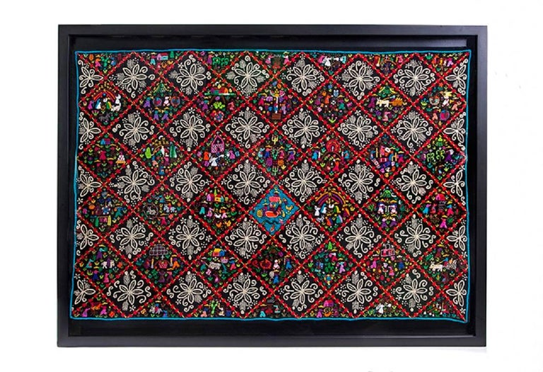 """FREE SHIPPING TO WORLDWIDE!  Artisan: Guadalupe Barriga Barriga  Cotton Embroidery Frame. The embroidery represents dances, rituals and religion and typical situations of the life. The extra trait is the hand-weaved edge.  - Dimensions: 39"""" x 31"""" x"""