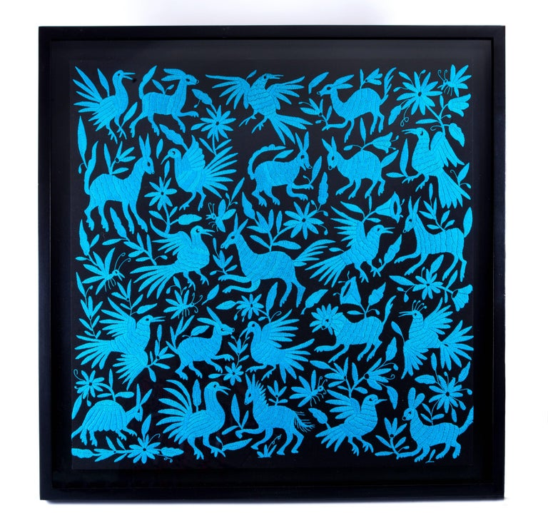 "FREE SHIPPING TO WORLDWIDE!  Artisan: Dionisia Gomez Gomez  Embroidery Cloth with Traditional Otomi Iconography.  - Dimensions: 36"" x 37"" x 2"" in  or 92 x 95 x 4 cm - Color: Blue, Black - Weight: 27.1 lb or 12.3 kg   - Time of Preparation: Two"