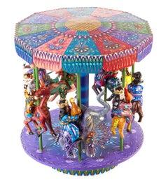 "16"" Tall Wood carving Mexican Folk Art Nativity Carrusel Decoration Art"