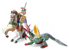 17'' San Jorge Wood carving Alebrije Sculpture Mexican Folk Art
