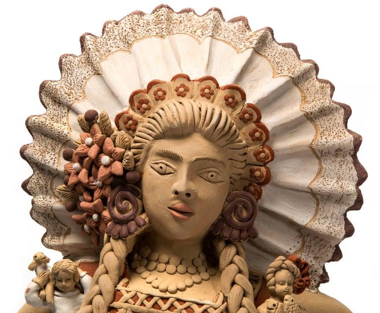 Tehuana con Nacimiento / Ceramics Mexican Folk Art Clay Nativity - Sculpture by Enedina Vasquez Cruz