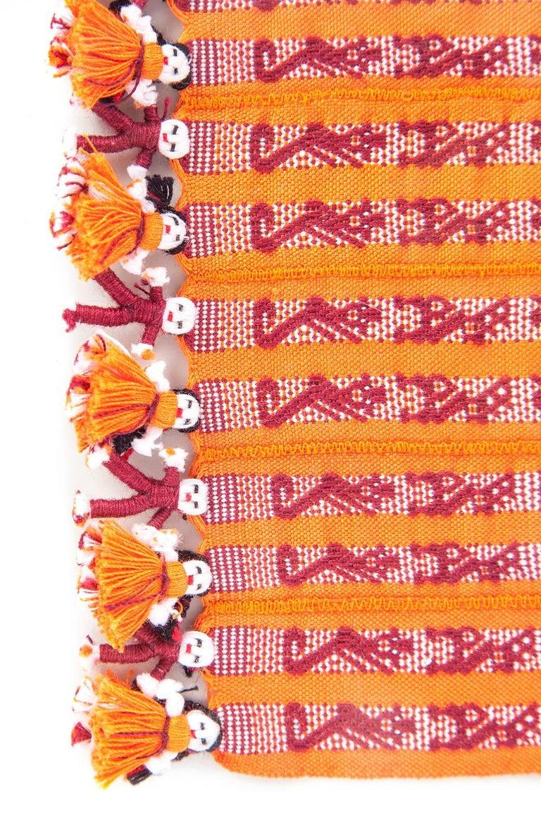 Tapete Miniatura Naranja y Rojo / Textiles Mexican Folk Art Miniature Rug Frame For Sale 1