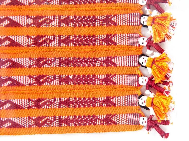 Tapete Miniatura Naranja y Rojo / Textiles Mexican Folk Art Miniature Rug Frame For Sale 3