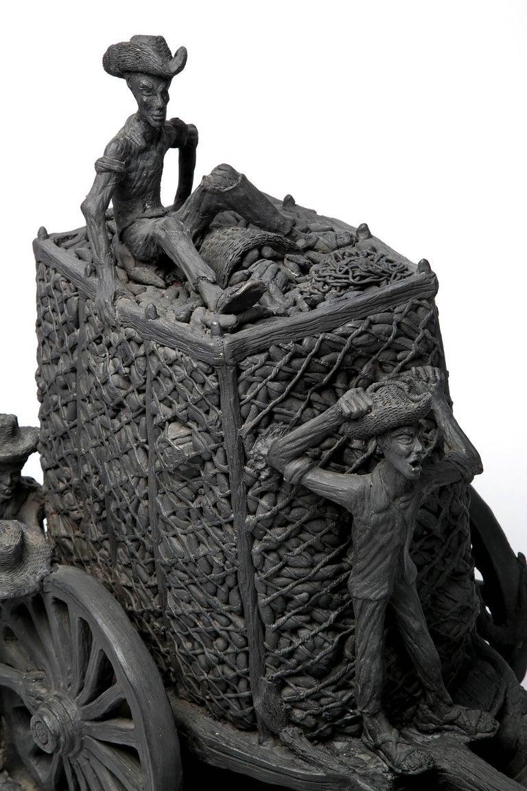 24'' La Pizca Mexican Folk Art  - Black Figurative Sculpture by Fidel Martinez Martinez