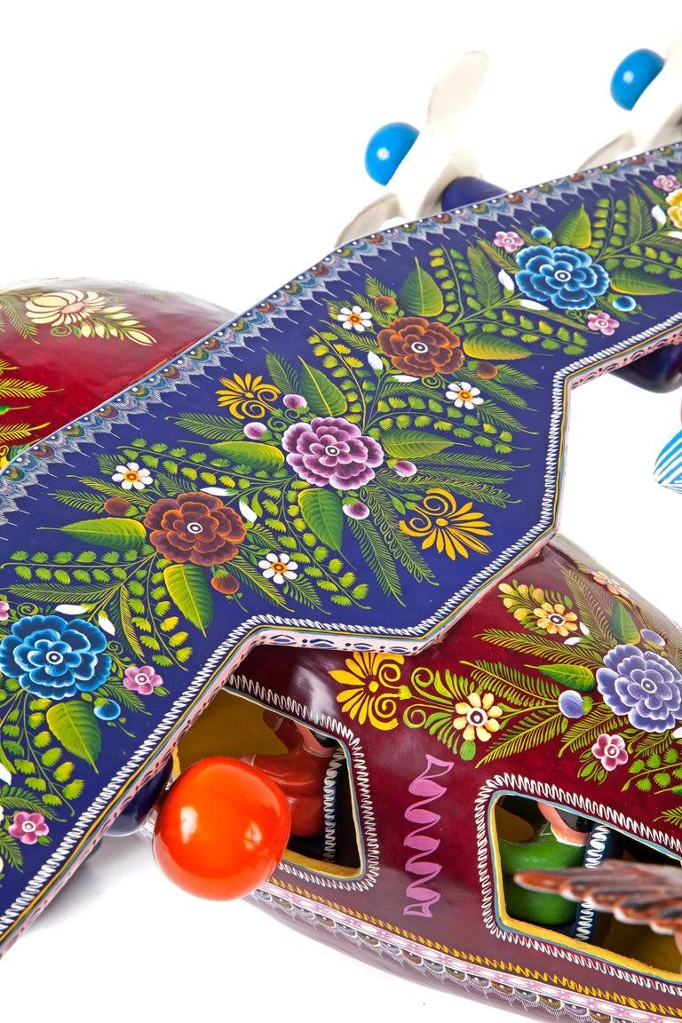 24'' El Avion de Guerrero / Wood carving Lacquer Mexican Folk Art For Sale 1