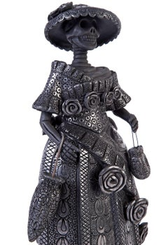 6'' Catrina Oaxaqueña / Ceramics Black Clay Mexican Folk Art