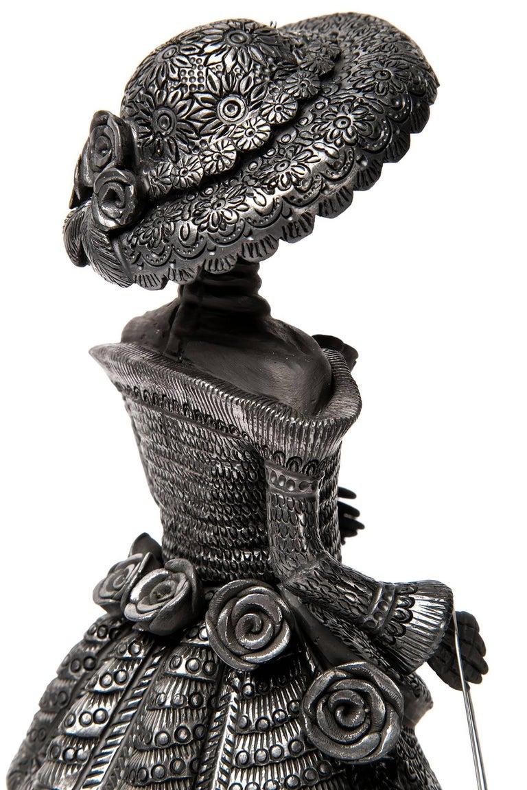 5'' Mujer Catrina-Oaxaca / Ceramics Black Clay Mexican Folk Art For Sale 1