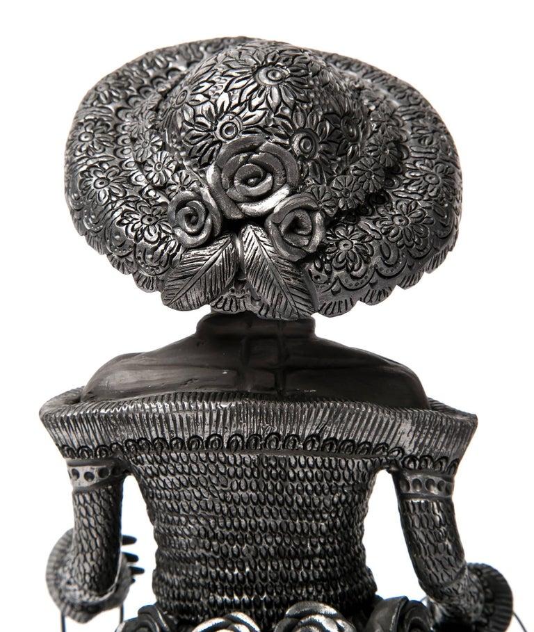 5'' Mujer Catrina-Oaxaca / Ceramics Black Clay Mexican Folk Art For Sale 3