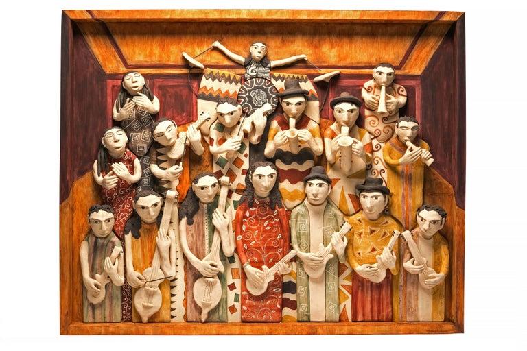 Manuel David Reyes Ramirez Figurative Painting - 39'' La Orquesta / Ceramics Mexican Folk Art Clay Frame