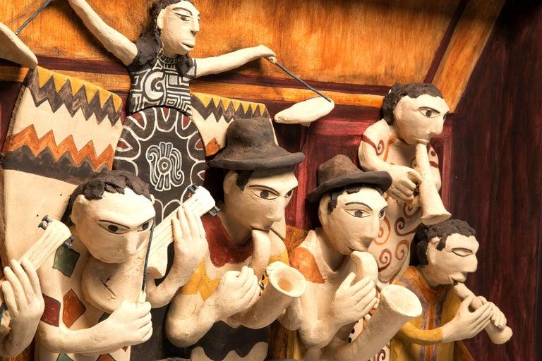 39'' La Orquesta / Ceramics Mexican Folk Art Clay Frame - Painting by Manuel David Reyes Ramirez