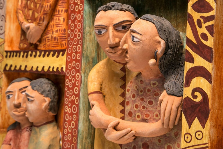41'' El beso / Ceramics Mexican Folk Art Clay Frame For Sale 1