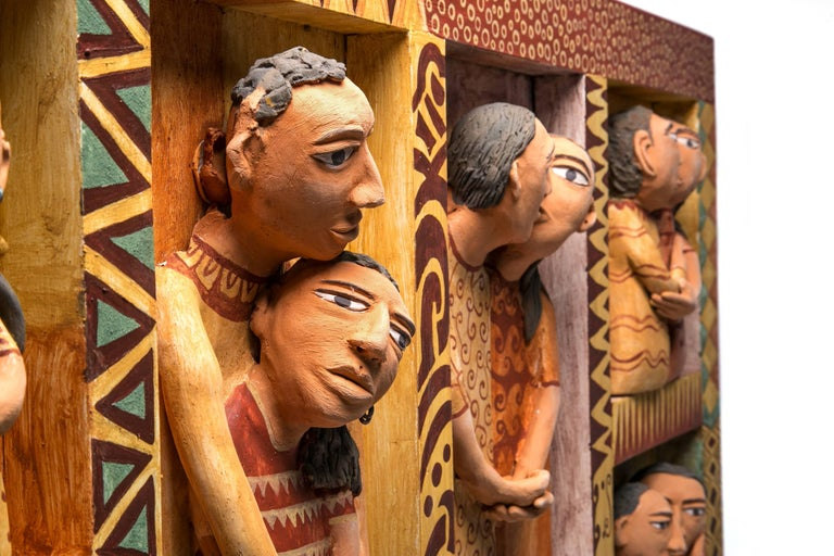 41'' El beso / Ceramics Mexican Folk Art Clay Frame For Sale 2