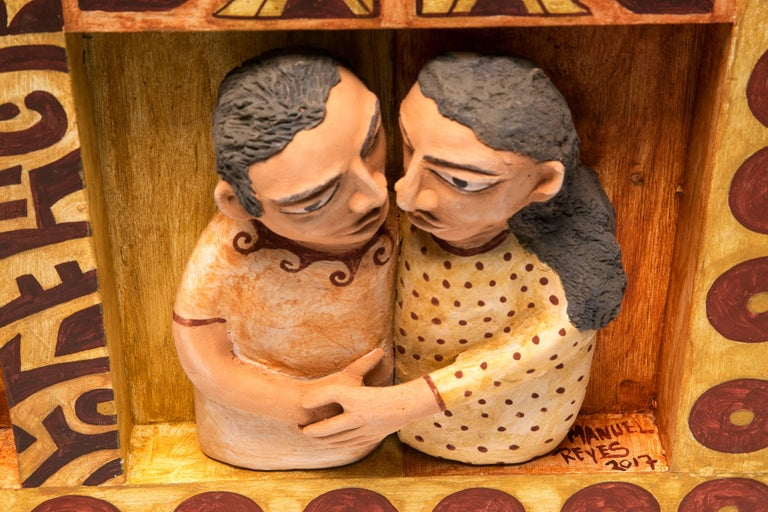 41'' El beso / Ceramics Mexican Folk Art Clay Frame For Sale 3