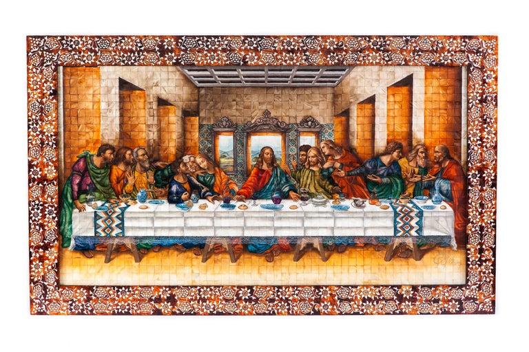 53'' La Ultima Cena Colonial / Mexican Folk Art Inlay Nacre Frame For Sale 1