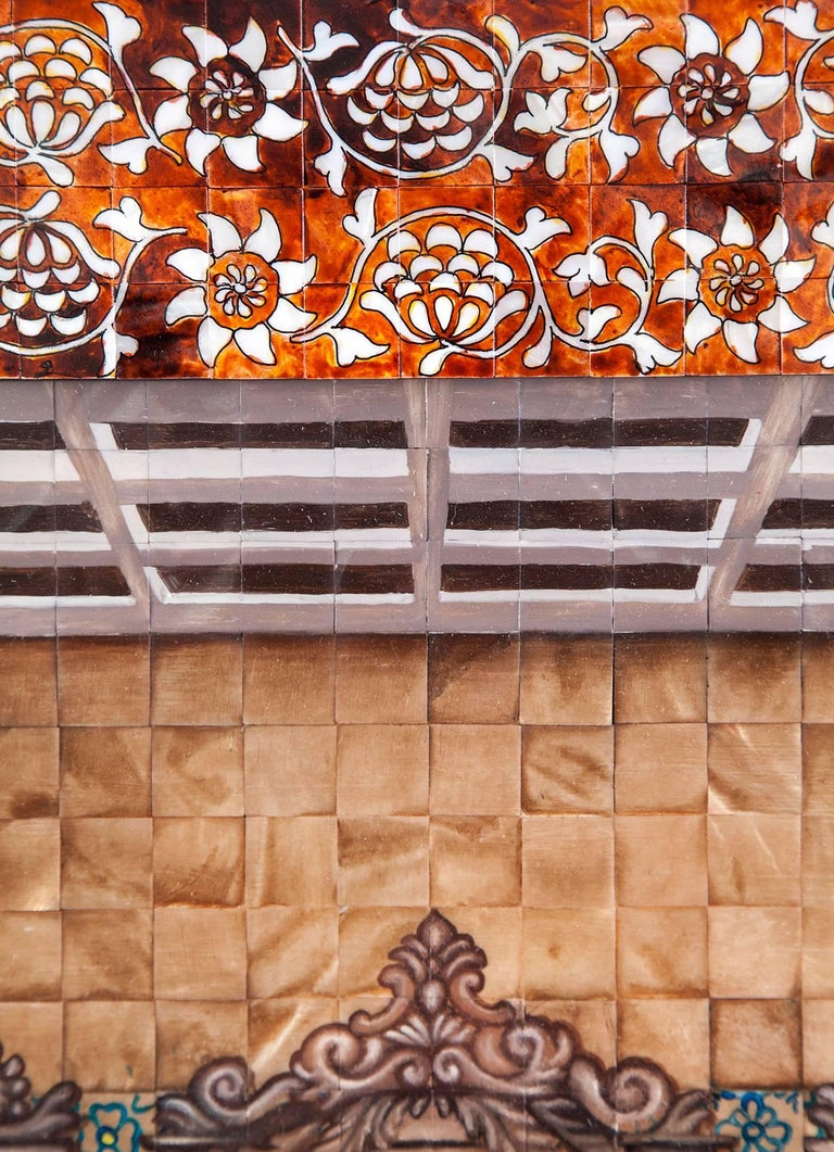 53'' La Ultima Cena Colonial / Mexican Folk Art Inlay Nacre Frame For Sale 2