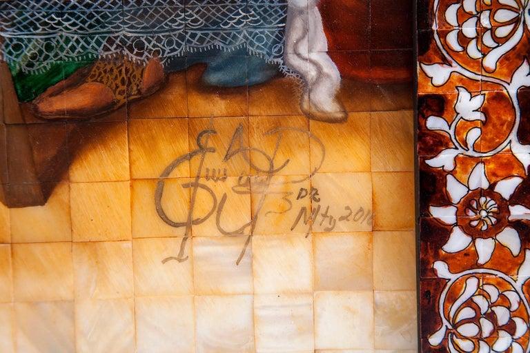 53'' La Ultima Cena Colonial / Mexican Folk Art Inlay Nacre Frame For Sale 11