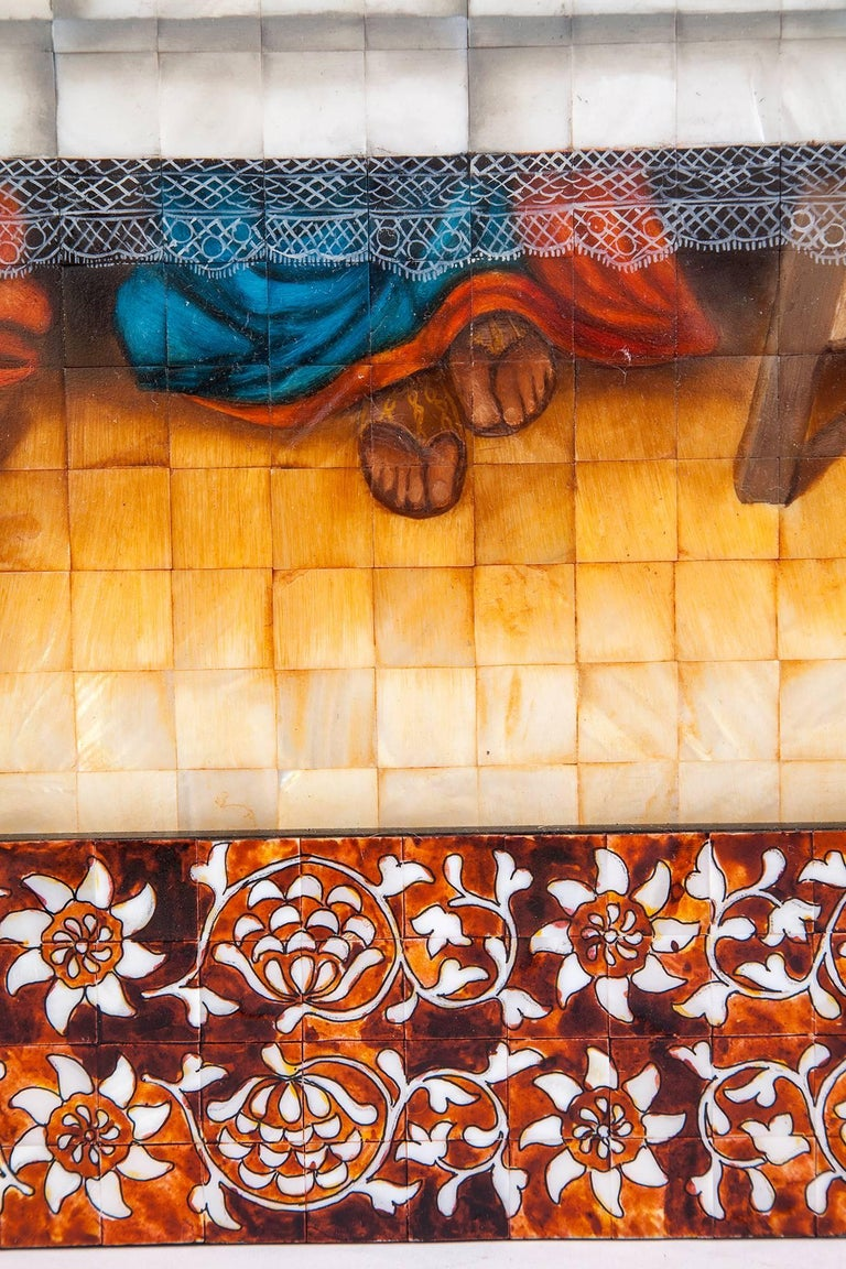 53'' La Ultima Cena Colonial / Mexican Folk Art Inlay Nacre Frame For Sale 5