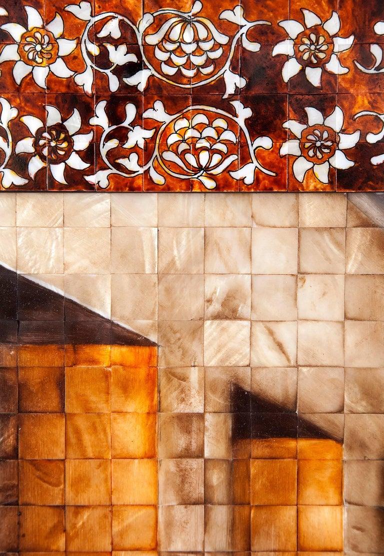 53'' La Ultima Cena Colonial / Mexican Folk Art Inlay Nacre Frame For Sale 7