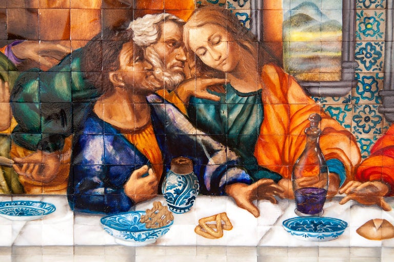 53'' La Ultima Cena Colonial / Mexican Folk Art Inlay Nacre Frame For Sale 8