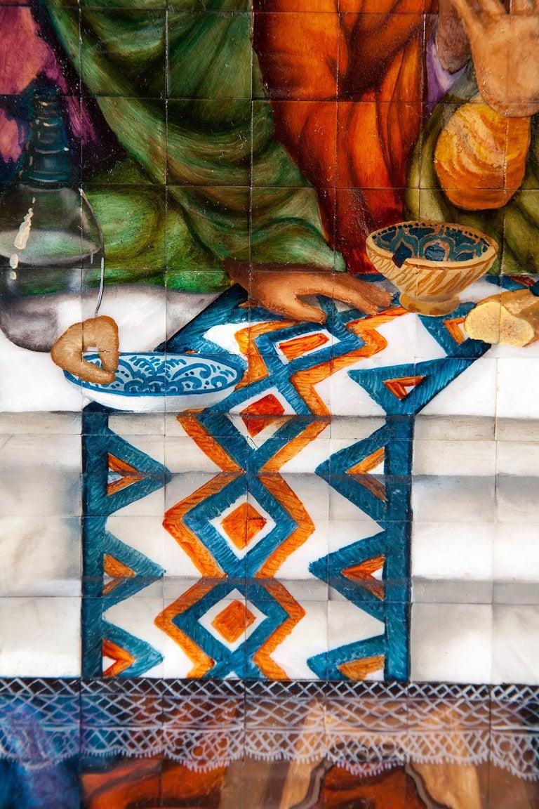 53'' La Ultima Cena Colonial / Mexican Folk Art Inlay Nacre Frame For Sale 10