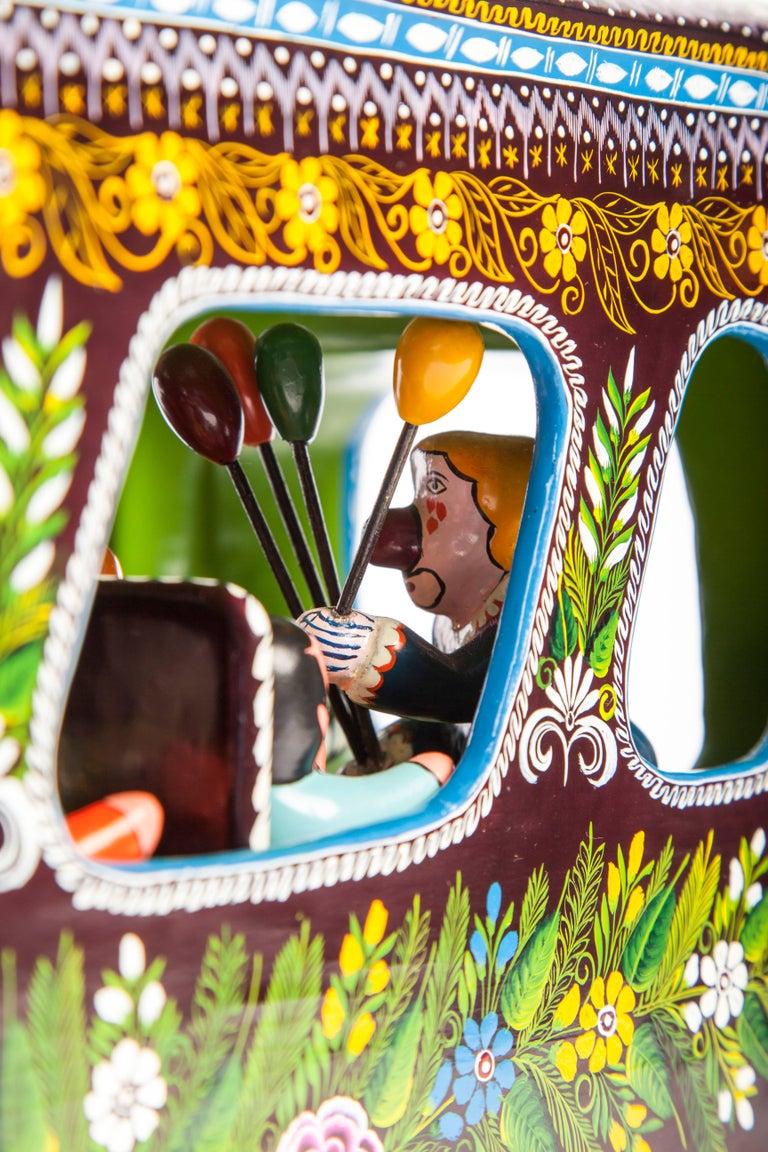23'' El Autobus / Wood carving Lacquer Mexican Folk Art For Sale 4