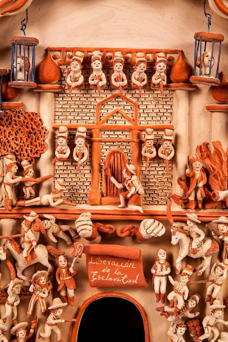 17'' Iglesia Independencia de Mexico / Ceramics Mexican Folk Art Clay For Sale 3