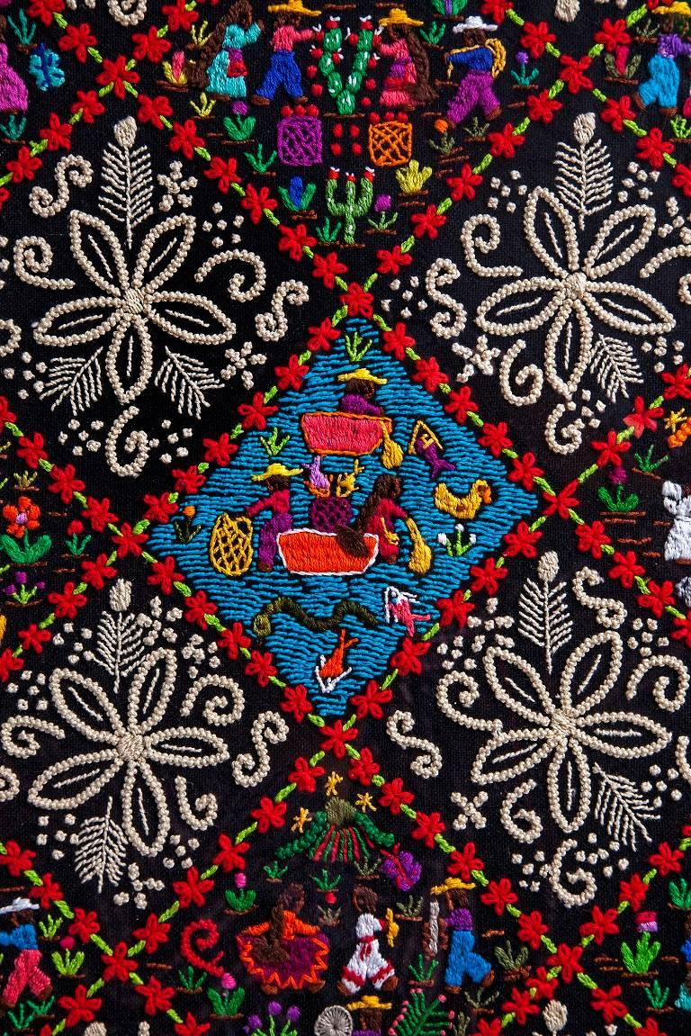 Costumbres / Textiles Mexican Folk Art Embroidery Frame For Sale 1
